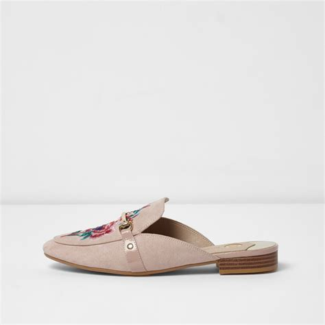 light pink loafers light pink embroidered backless loafers workwear sale