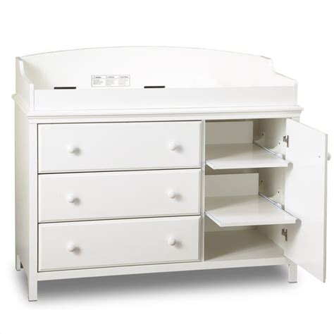 Baby Change Table With Drawers White South Shore Cotton 3 Drawer Wood Changing Table In White 3250333