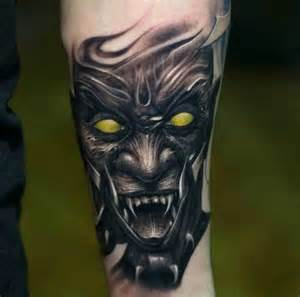 victor portugal black and gray demon tattoo with color