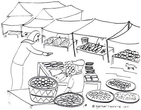 mewarnai gambar keramaian pasar iman