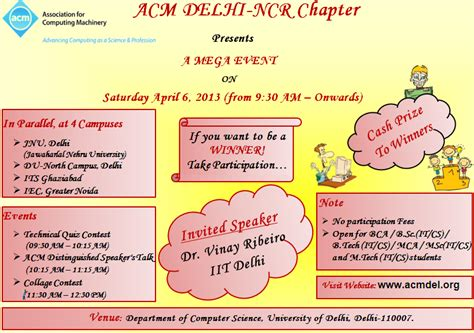 Invitation Letter Format For Quiz Competition Acm Delhi Ncr Chapter Zone