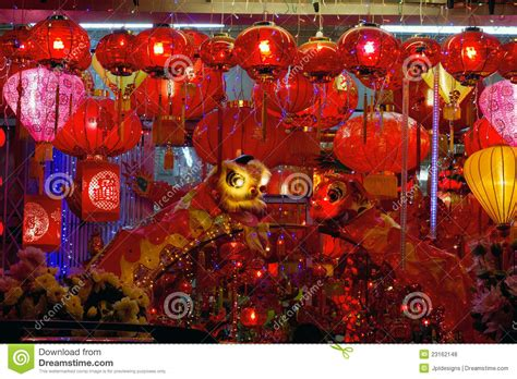new year lantern display storefront display of new year lanterns stock