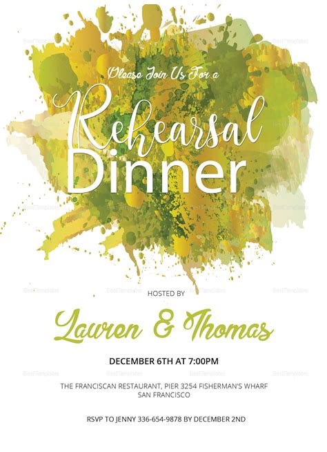 Watercolor Rehearsal Dinner Invitation Design Template In Word Psd Publisher Microsoft Word Rehearsal Dinner Invitation Template