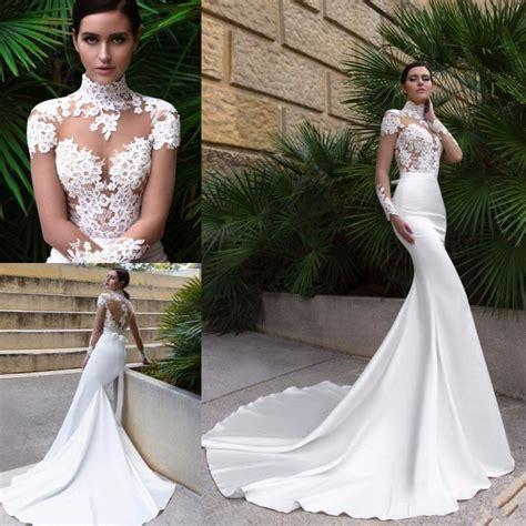 2017 New High Neck Design Sexy Mermaid Wedding Dress Sheer