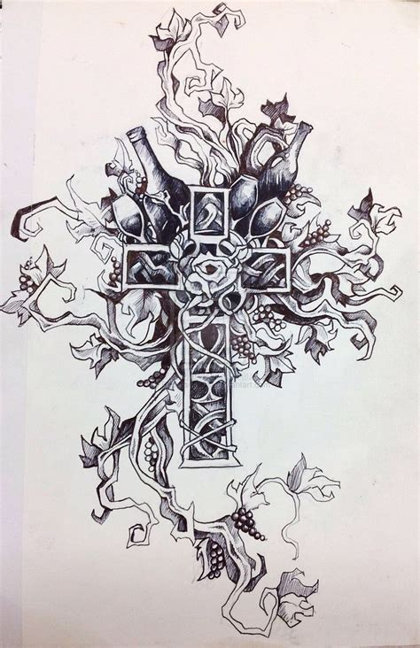 catholic cross with rose tattoos pinterest