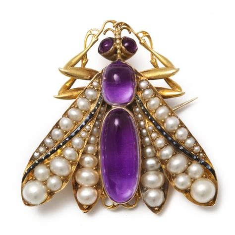 Pearls Wings 2 insect brooch pendant set with pearl