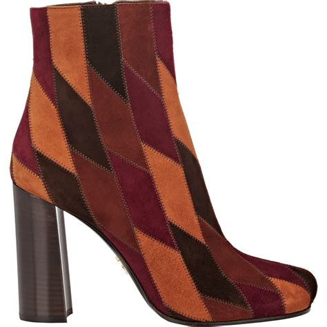 Patchwork Shoes - prada suede patchwork ankle boots in lyst