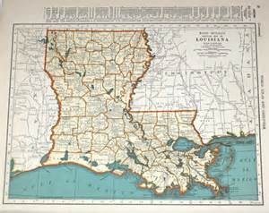Map Of Southern Louisiana by Louisiana Map Vintage Orange And Blue 1940s Map Of By