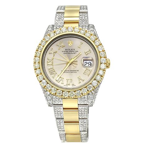 iced out two tone rolex oyster perpetual datejust mens