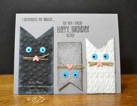 Handmade Cat Cards - cat card made with stin up products remembering