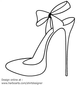 High Heel Shoes Outline by High Heel Printables High Heel Blade Shoes Outline With Ribbon Printables