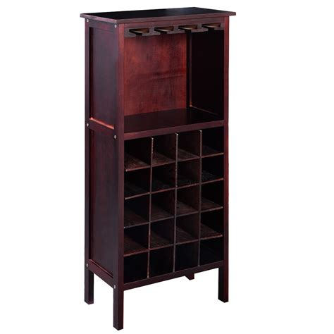 Glass Bar Cabinet New Wood Wine Cabinet Bottle Holder Storage Kitchen Home Bar With Glass Rack Ebay