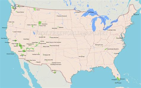 united states map with national parks united states map of national parks