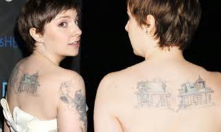 lena dunham tattoos lena dunham reveals kooky tattoos in strapless