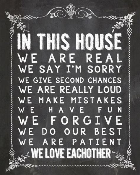 design quotes 7 art print by nada solutions society6 in this house chalkboard home decor print art by