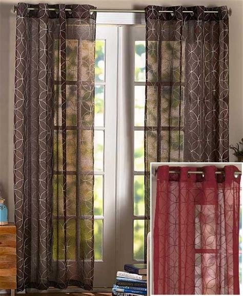 three panel window curtain one wedding ring embroidered semi sheer weave window