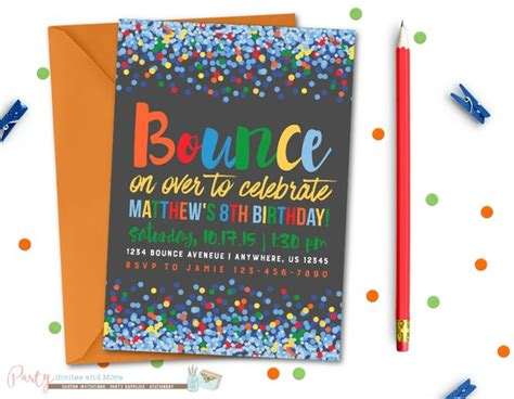 bounce house business cards templates jump birthday invitation bounce birthday invitation