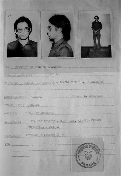 Personagens do documentário fotografados pelo DOPS em 1975