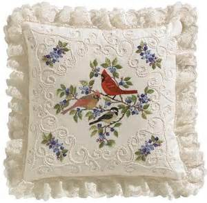 Pottery Barn Business Sales Janlynn Birds Amp Berries Pillow Candlewicking Embroidery