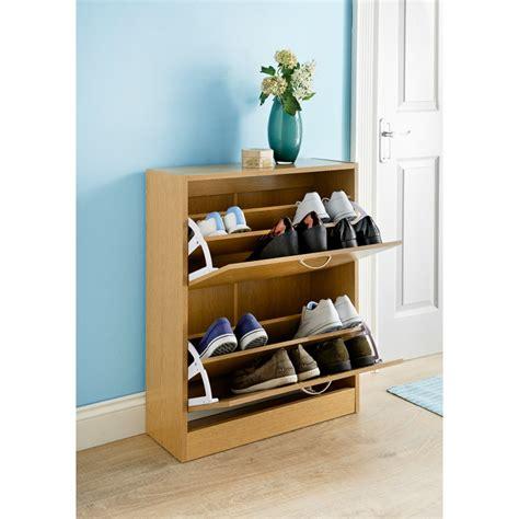 oak effect shoe storage oak effect shoe caddy furniture shoe storage b m