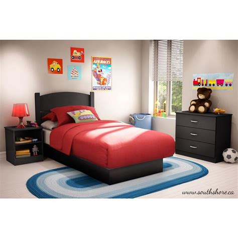 kids twin bedroom set south shore libra 3 piece pure black twin kids bedroom set