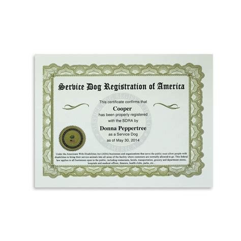 service registration of america service certificate available for immediate official service