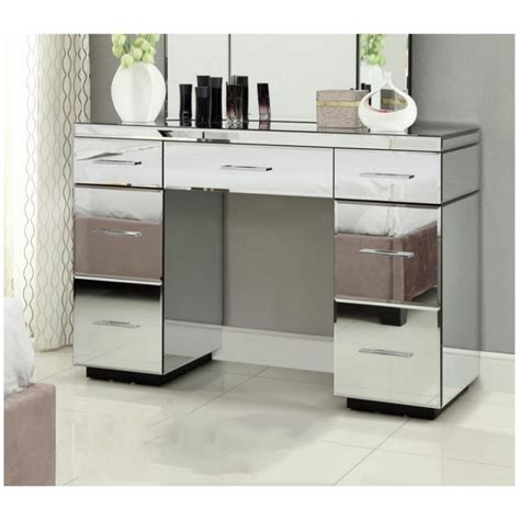 Mirrored Vanity Table Mirrored Dressing Table Console 7 Drawer Mirror Furniture