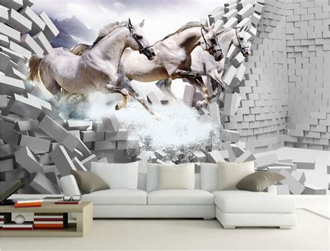 equestrian wallpaper for walls customize 3d wallpaper brick wall white horse gallop wall