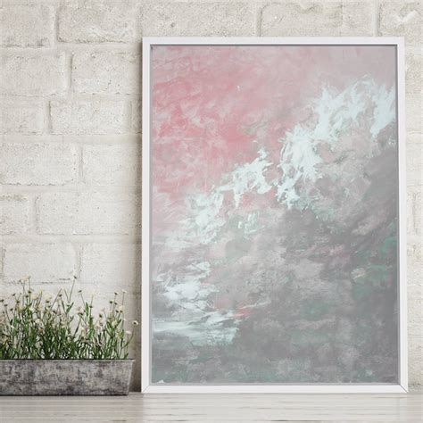 Pink And Grey Abstract Wall