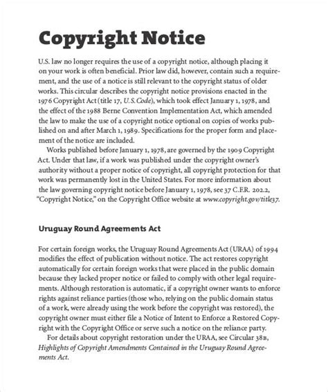 copyright notice template copyright notice 27 free sles exles format