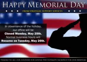 strategic support services will be closed on memorial day