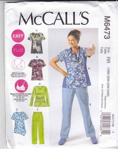 sewing pattern uniform mccalls sewing pattern 6473 easy women s plus size 18w 24w