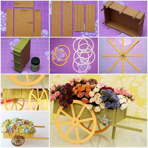 diy wagon diy cardboard wagon carrying flowers decoration
