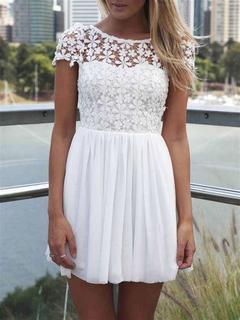 White Flower Crochet Dress white sleeve hollow floral crochet pleated dress