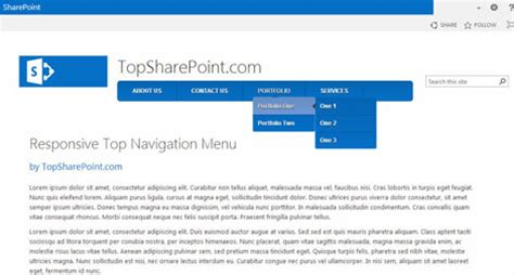 Html Top Navigation Bar by Image Gallery Navigation Menu Sharepoint 2013