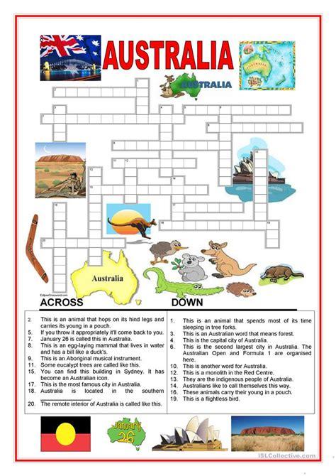 australia crossword 2 worksheet free esl printable