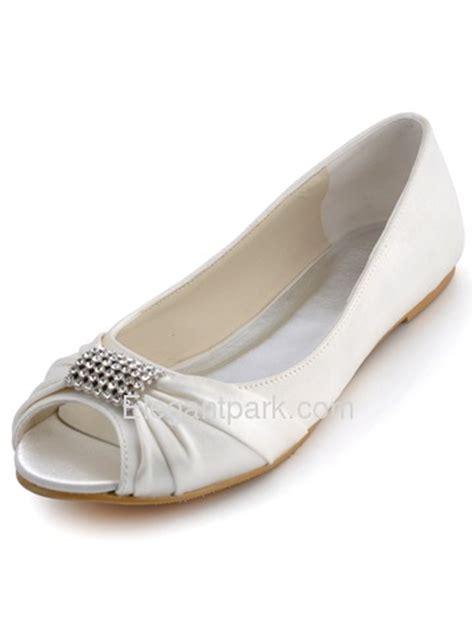 flat wedding shoes australia elegantpark peep toe satin rhinestones flat heel bridal