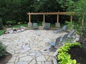 bluestone patio with flagstone and granite fire pit