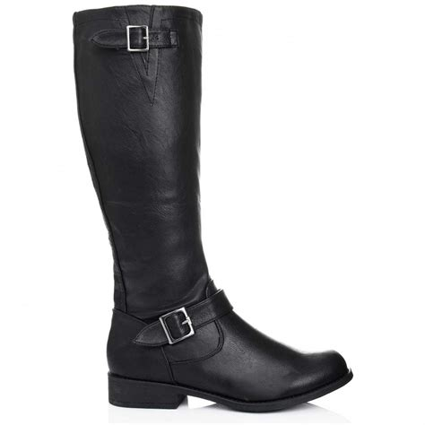 buy river flat knee high boots black leather style