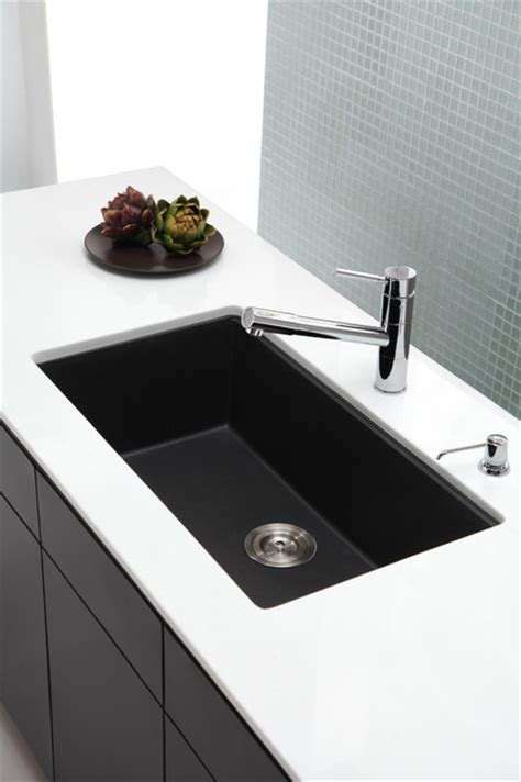Modern Undermount Kitchen Sinks Kraus Kgu 413b Undermount Single Bowl Black Onyx Granite Kitchen Sink Modern Kitchen Sinks