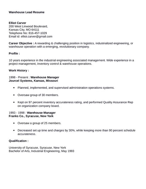 clean warehouse lead resume exle template