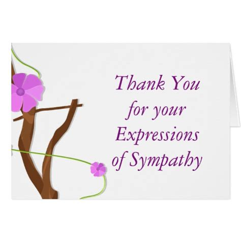 thank you letter sympathy gift floral memorial thank you for your sympathy card zazzle