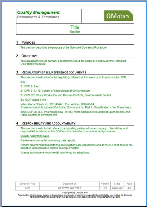 Standard Operating Procedure Template Sop Template Form Standard Operating Procedure Template Microsoft Word