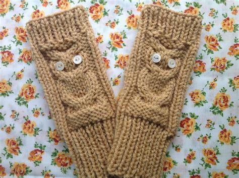 Owl Fingerless Gloves Knitting Pattern Chunky Hand | owl fingerless gloves knitting pattern chunky hand warmers
