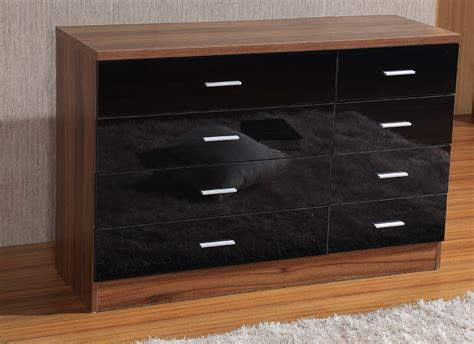 Walnut And Black Gloss Bedroom Furniture High Gloss 8 Drawer Chest 4 4 Bedroom Furniture Black Walnut Oak Ebay