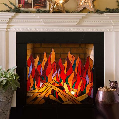 Stained Glass Roaring Fire Screen   So That's Cool