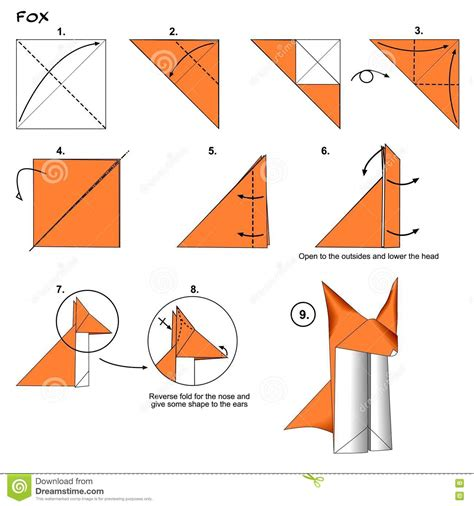 Easy Origami Fox - origami fox steps stock illustration image 73337350