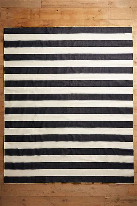 Gray White Striped Rug by Grey Boldstripe Dhurrie Rug