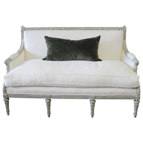 french country loveseats painted louis xvi style french country sofa settee in
