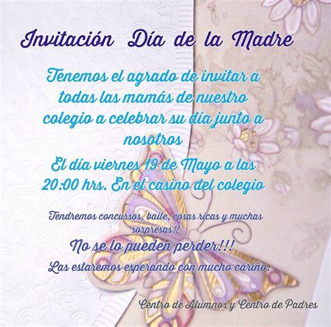 tarjeta de invitacion para el dia de los jardines invitaci 211 n d 205 a de la madre colegio pumahue pe 241 alol 233 n